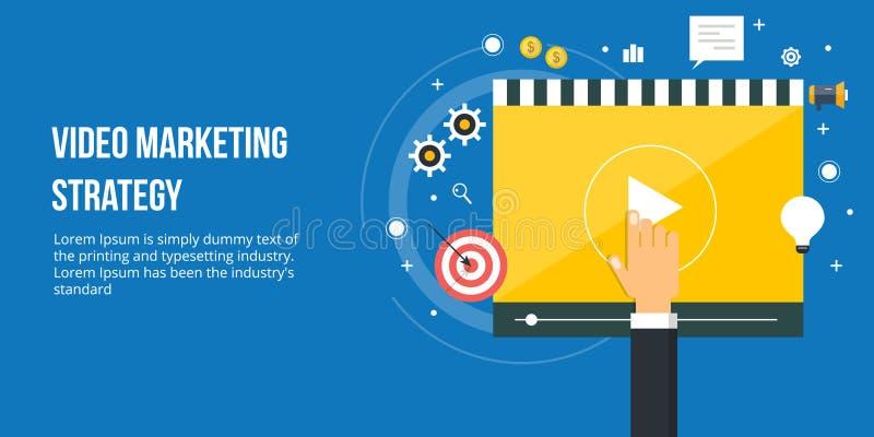 Márketing video para la promoción en línea del negocio Bandera digital del márketing del diseño plano stock de ilustración