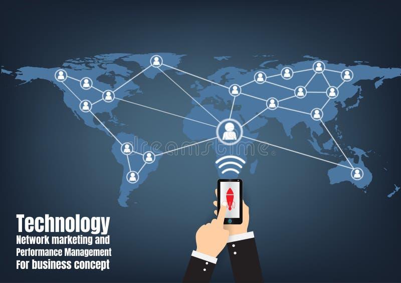 Márketing y gestión del rendimiento de la red de la tecnología ilustración del vector