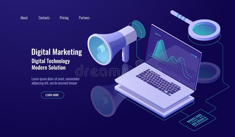 Márketing y promoción de Digitaces, publicidad online, altavoz con el ordenador portátil y lupa, datos que investigan y ilustración del vector