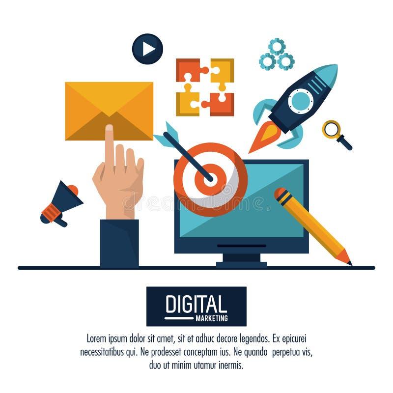 Márketing y publicidad de Digitaces libre illustration