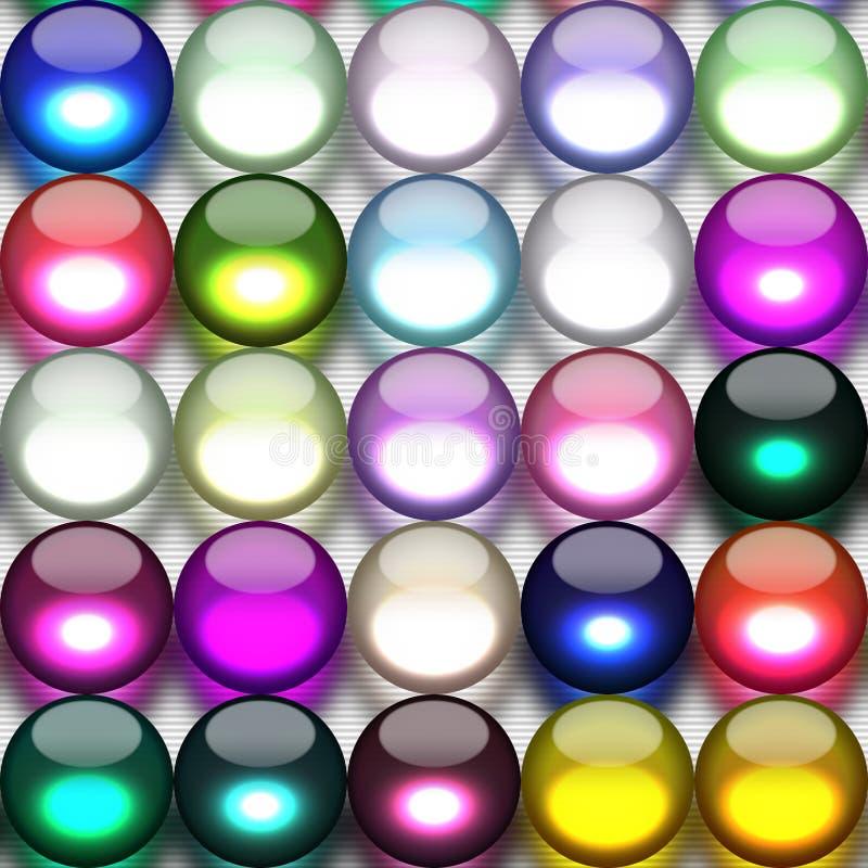 Mármoles coloridos en una fila ilustración del vector