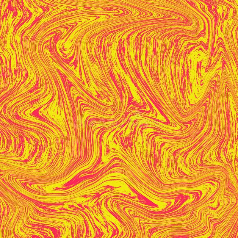 Mármore líquido maravilhoso do fundo da lava A combinação de amarelo e de vermelho Sumário líquido do papel de parede alaranjado ilustração do vetor