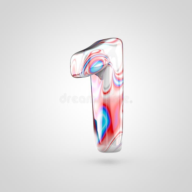 Mármore lustroso número 1 da água isolado no fundo branco ilustração stock