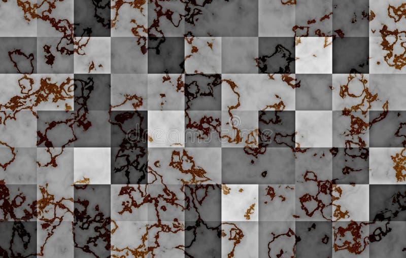 Mármore textured com blocos quadrados geométricos do inclinação Redemoinhos e ondinhas naturais pretos e do ouro no cinza abstrai ilustração do vetor