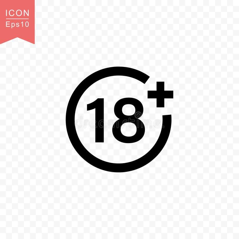 Más 18 años de la película del icono del estilo de ejemplo plano simple del vector ilustración del vector