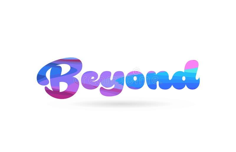 más allá de icono azul rosado del logotipo del texto de la palabra del color libre illustration
