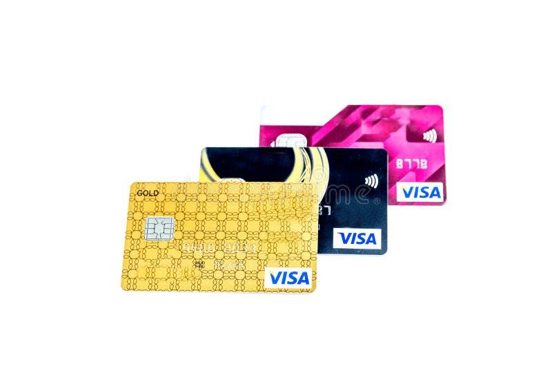Más cerca encima de las tarjetas de crédito para el fondo fotografía de archivo libre de regalías