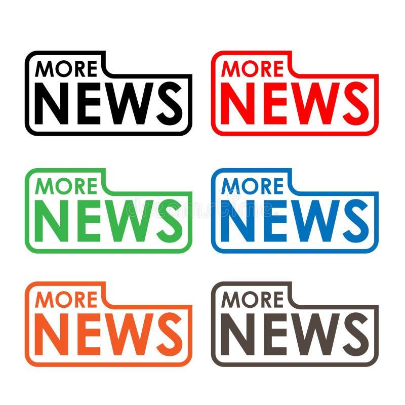 Más etiqueta común de las noticias, diseño plano Icono colorido stock de ilustración