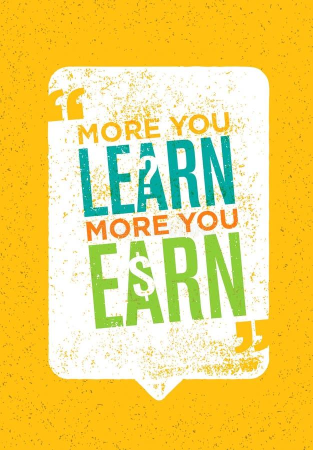 Más que usted aprende que más usted gana Cita creativa inspiradora de la motivación Concepto del cartel de la tipografía del vect ilustración del vector