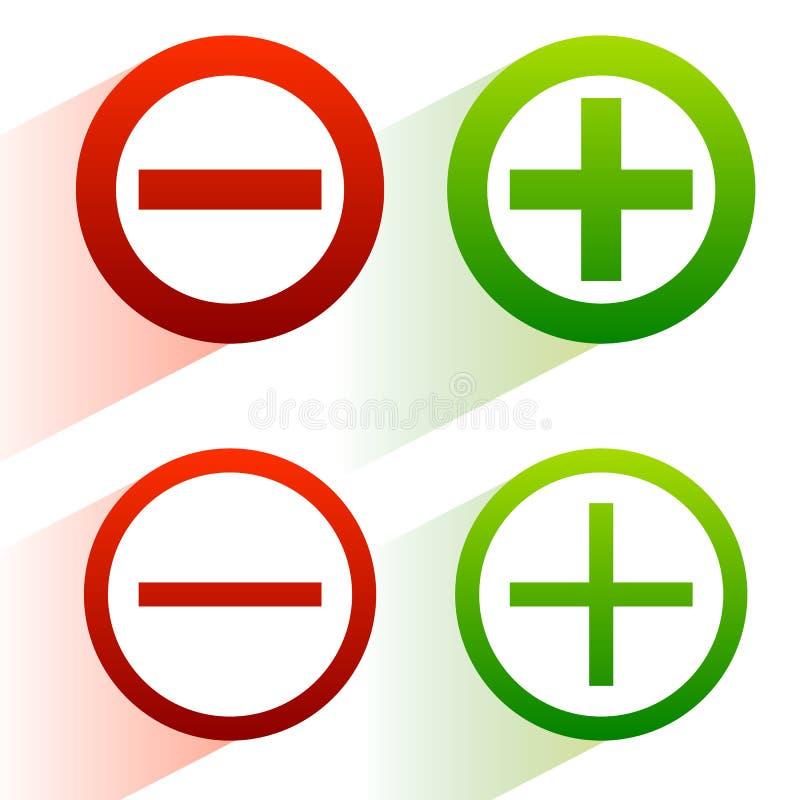 Más, signos de menos Adición, iconos de la substracción, símbolos con el diámetro ilustración del vector