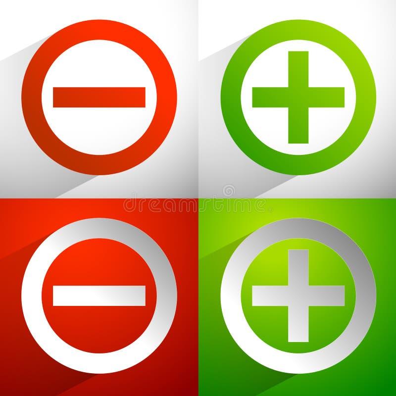Más, signos de menos Adición, iconos de la substracción, símbolos con el diámetro libre illustration