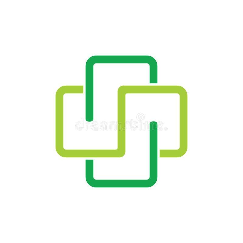 Más vector ligado linear médico del logotipo stock de ilustración