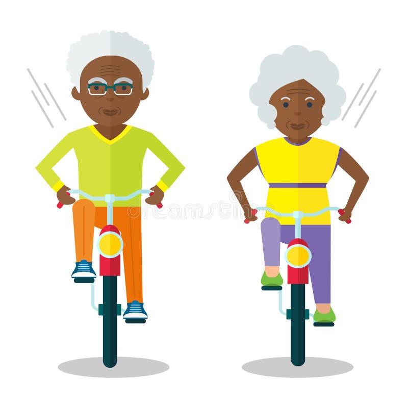 Más vieja gente negra en las bicis stock de ilustración
