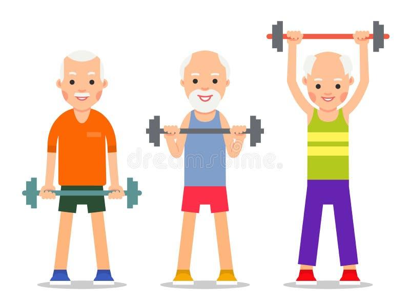 Más viejos hombres realizan ejercicios a la elevación del barbell Gente adulta adentro