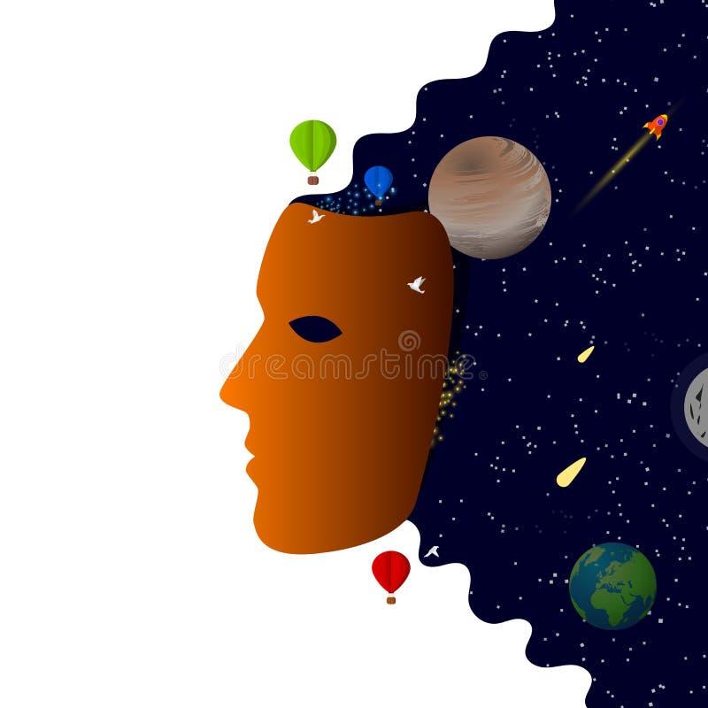 Máscara abstrata Conceito criativo do espaço Vetor ilustração do vetor