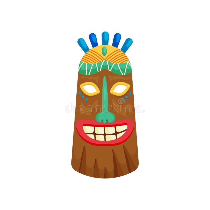 Máscara africana místico decorada com sorriso toothy e a pedra preciosa verde pequena na testa ilustração royalty free