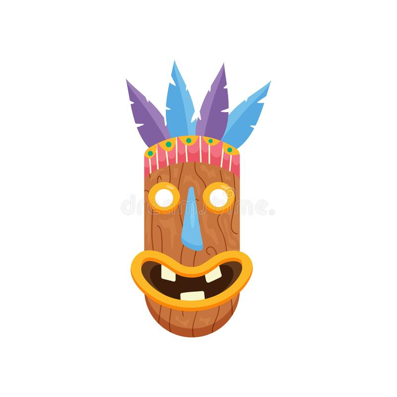 Máscara africana oblongated pré-histórica com boca aberta e três dentes isolados no fundo branco ilustração stock