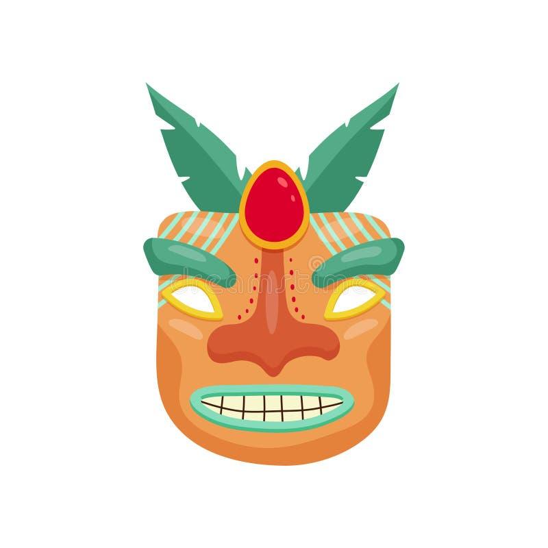 Máscara africana pré-histórica terrível com a boca assustador toothy e pedra preciosa vermelha grande entre os olhos ilustração royalty free