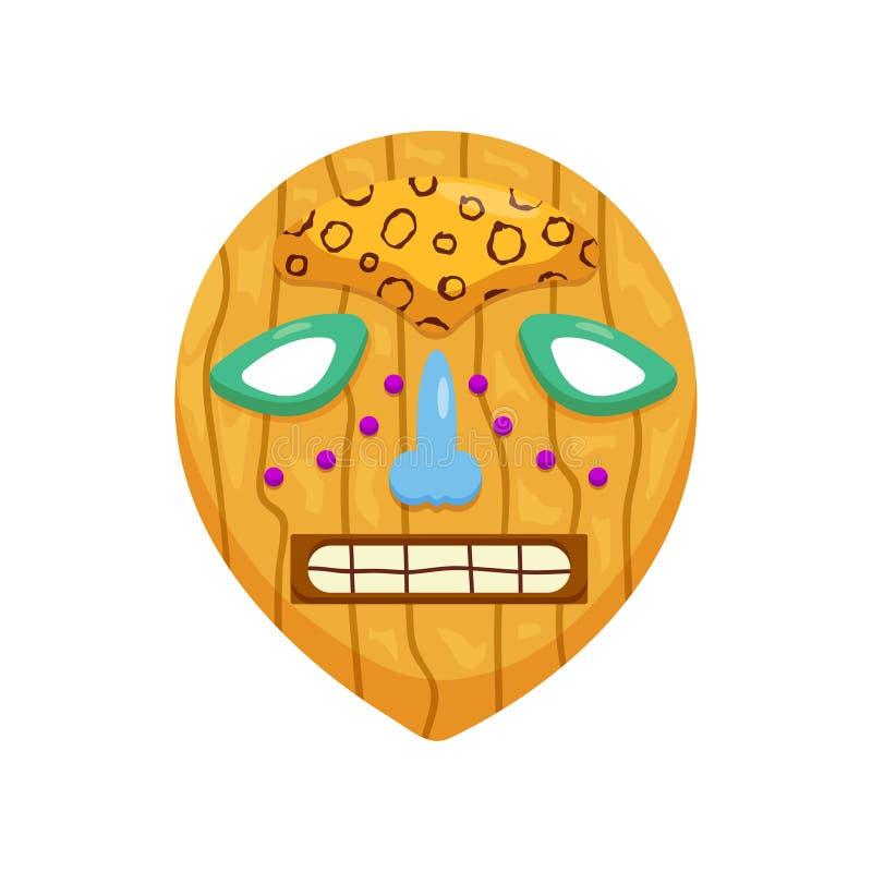 Máscara africana redonda pré-histórica com a boca assustador toothy e os olhos tristes isolados no fundo branco ilustração royalty free
