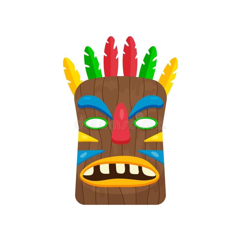 Máscara africana retangular impressionante com as penas coloridos isoladas no fundo branco ilustração royalty free