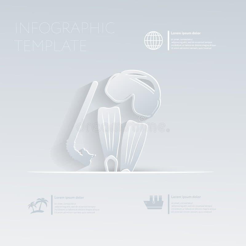 Máscara, aletas, tubo de respiração de mergulho Feriados do tema ilustração royalty free