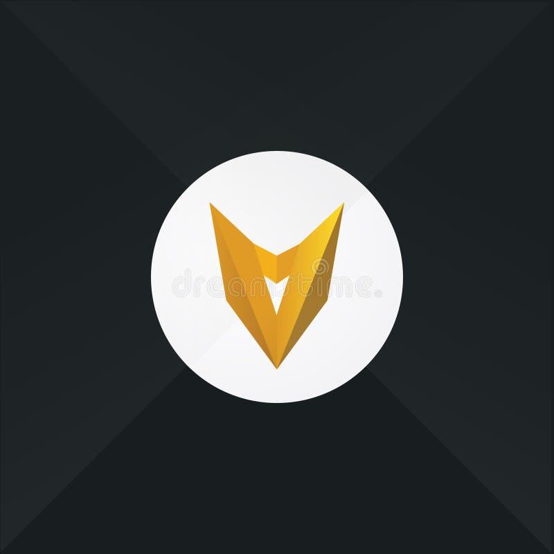 Máscara amarela, cabeça Logotipo liso do vetor Sinal isolado no fundo branco Template corporativo para artes -finais do negócio e ilustração royalty free