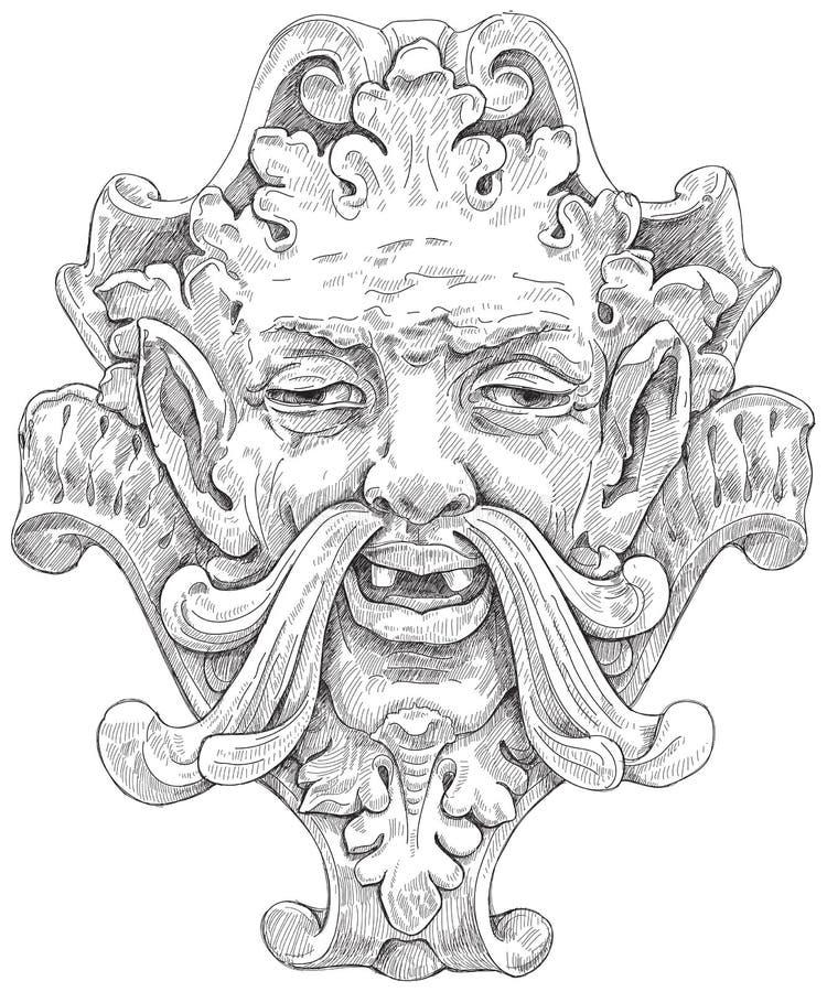 Máscara antiga & projeto floral ilustração do vetor