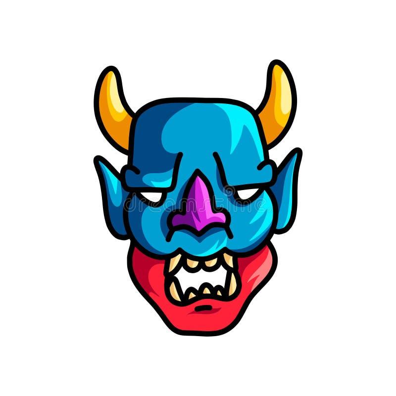 M?scara assustador colorida com cor vermelha azul e os chifres amarelos ilustração do vetor