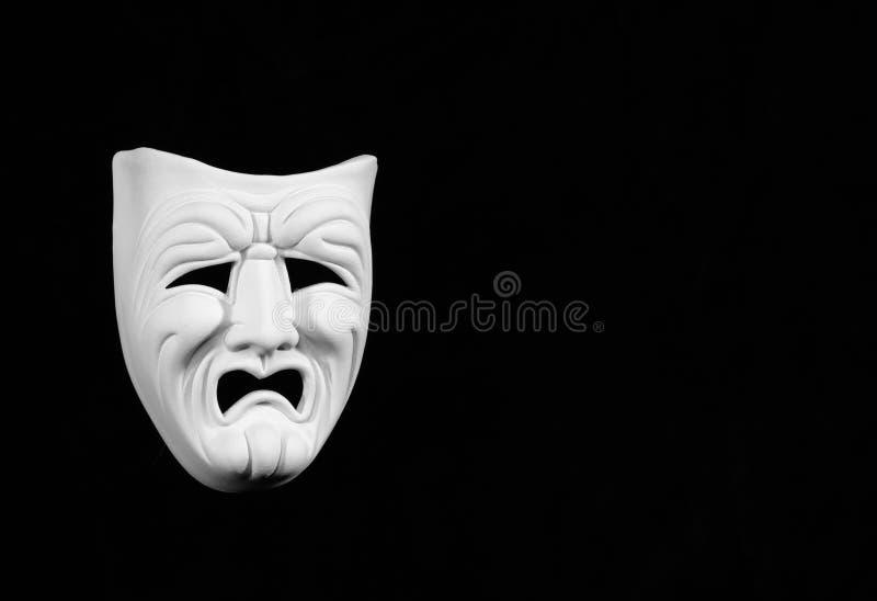 Máscara blanca de la tragedia imágenes de archivo libres de regalías