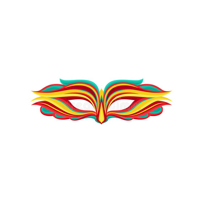 Máscara bonita do disfarce no estilo liso Atributo do traje do feriado Elemento gráfico para o cartão, partido ilustração stock