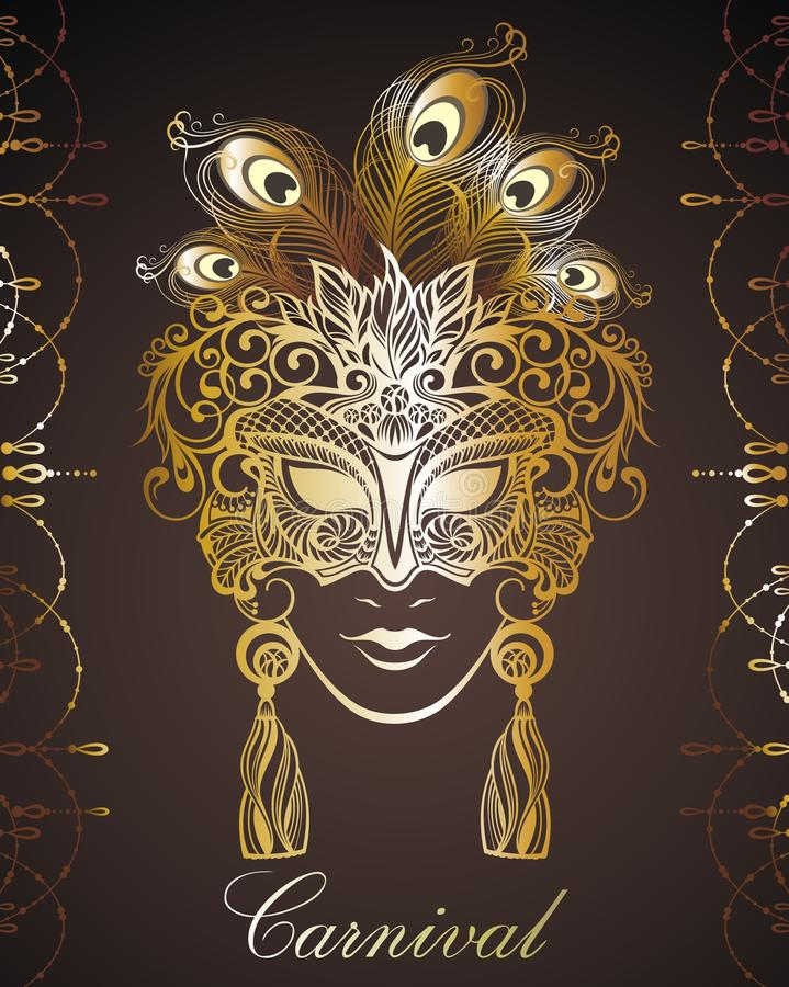 Máscara bonita do laço Fundo do vetor de Mardi Gras ilustração royalty free