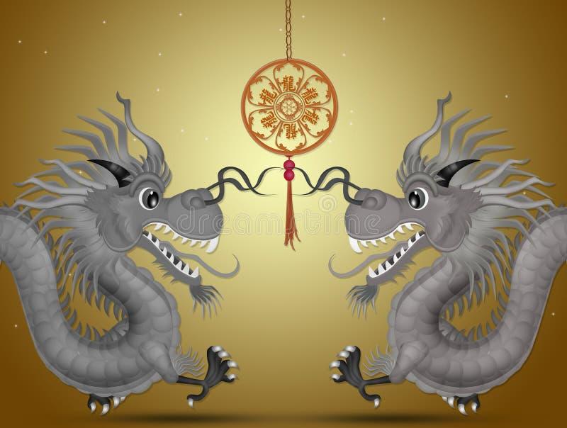 Máscara chinesa do dragão ilustração stock
