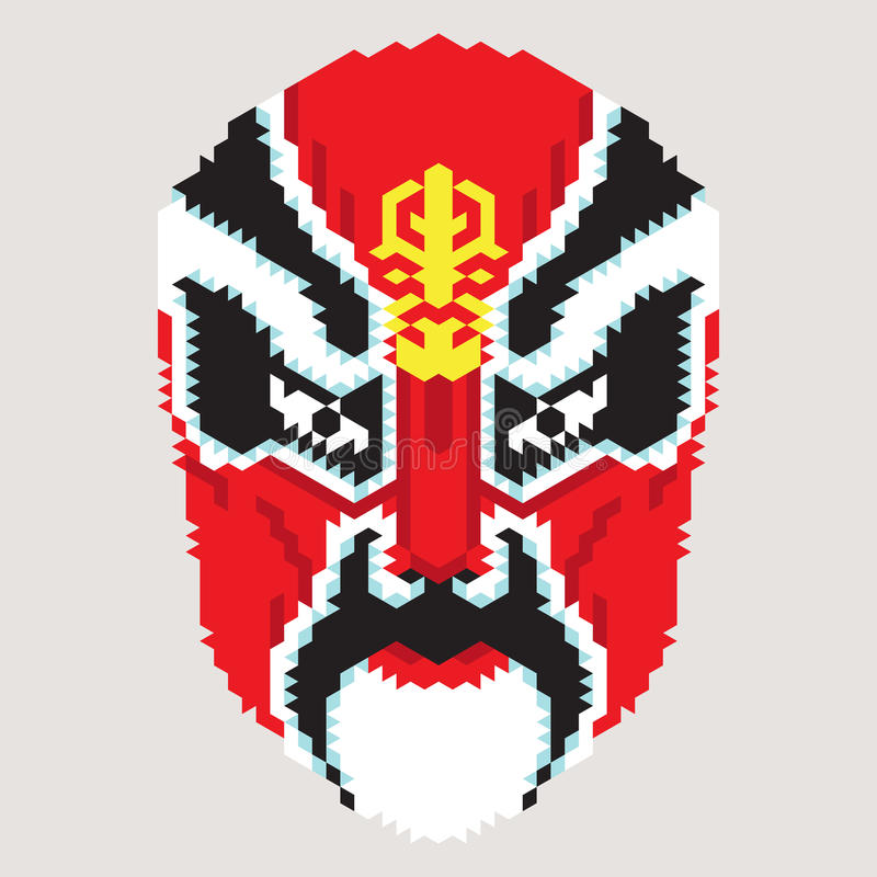 Máscara chinesa geométrica ilustração royalty free