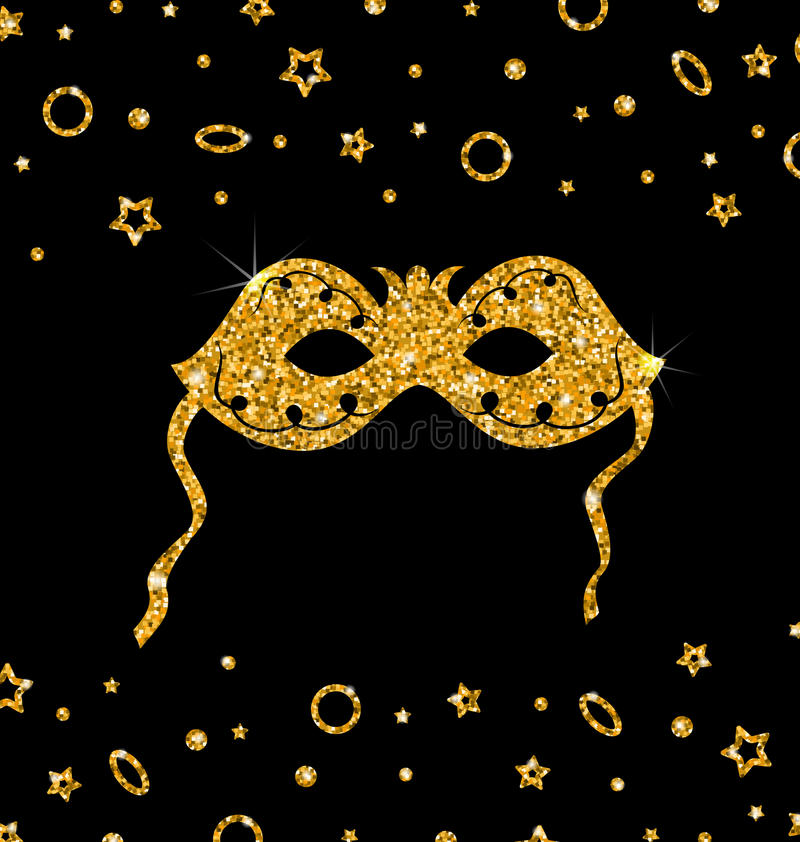 Máscara cintilante dourada do carnaval ilustração do vetor