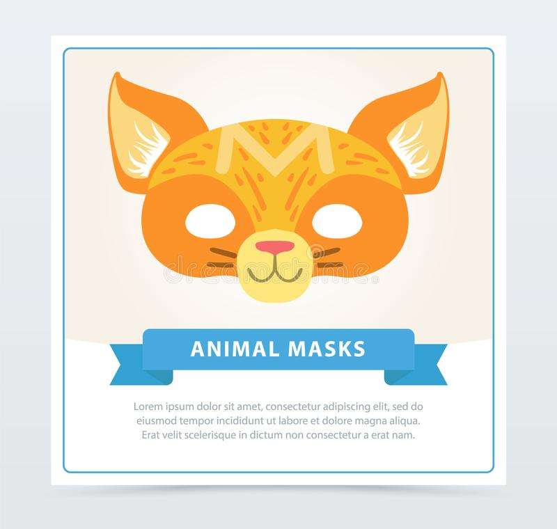 Máscara colorida do disfarce do gato Focinho bonito do animal doméstico Projeto liso do vetor dos desenhos animados para o convit ilustração stock