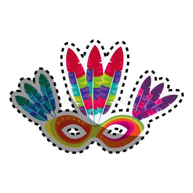 Máscara colorido da etiqueta com cultura de Brasil das penas ilustração royalty free