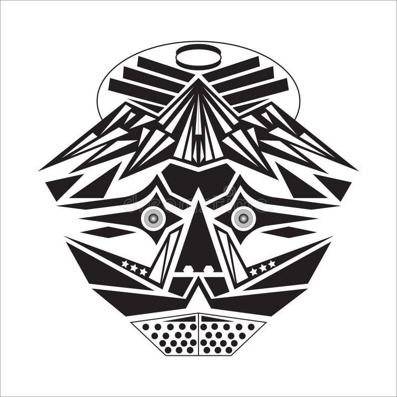 Máscara con una forma básica, y adentro blanco y negro ilustración del vector