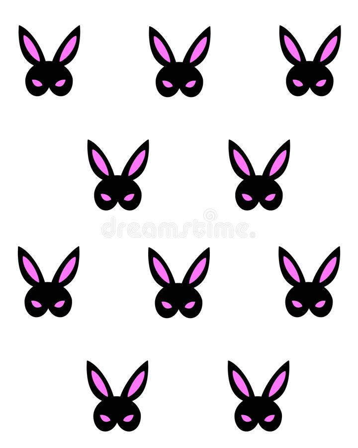 Máscara cor-de-rosa preta do bdsm do coelho Projeto tirado mão do vetor para o cartaz, cópia da camisa de t, teste padrão, cartão ilustração stock