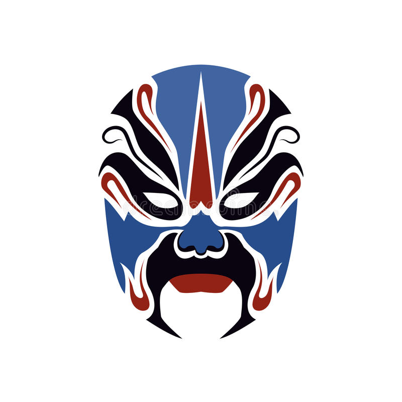 Máscara da ópera de Pequim de povos antigos ilustração royalty free