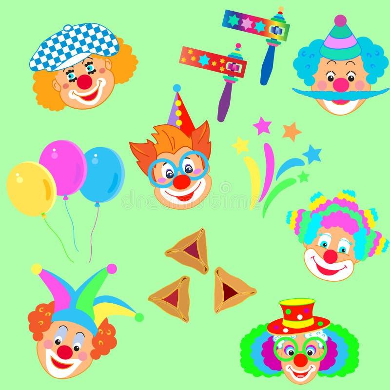 Máscara de 2019 caráteres dos palhaços, teste padrão judaico dos ícones do carnaval do feriado do festival feliz de Purim ilustração royalty free