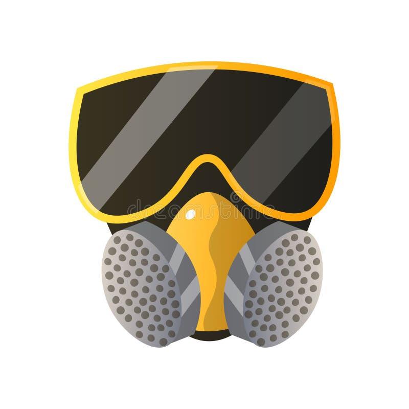 Máscara de gás da proteção contra incêndios isolada no fundo branco ilustração do vetor