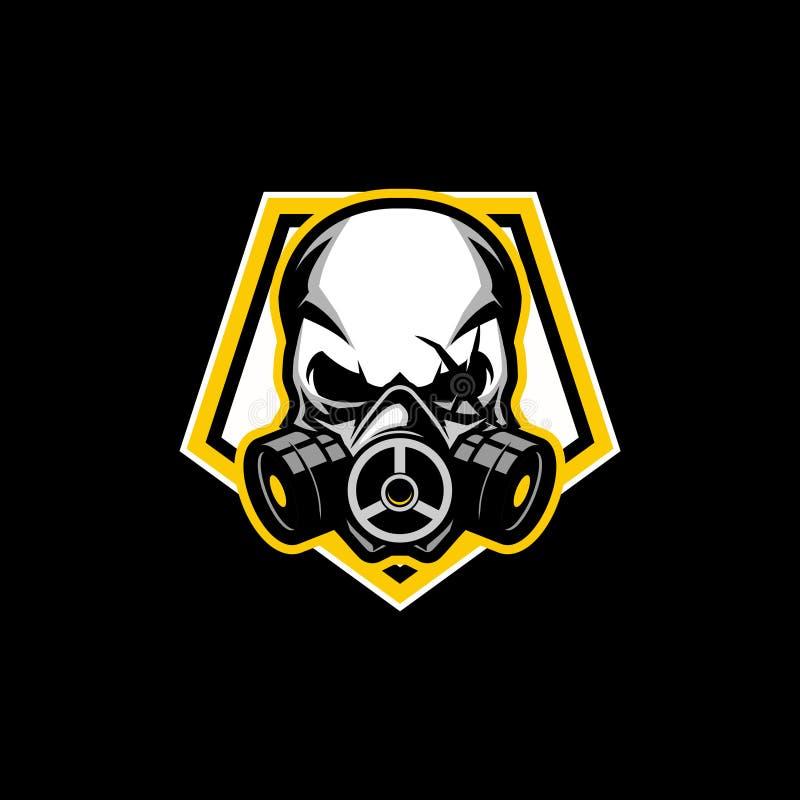 Máscara de gás simples do crânio com molde do logotipo do crachá do vetor da forma do Pentágono ilustração stock