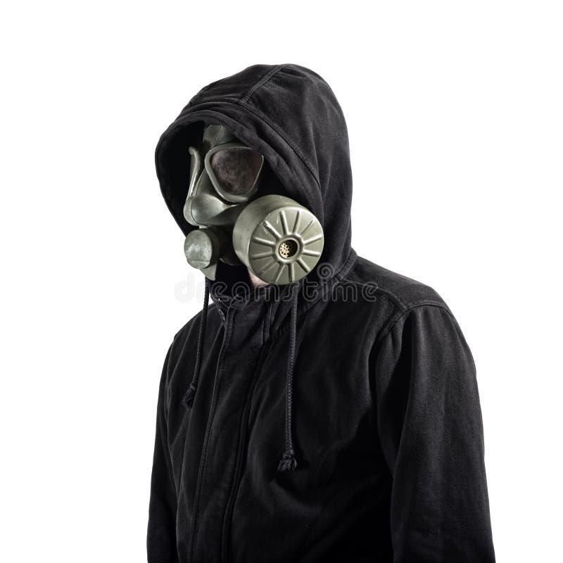 Máscara de gás vestindo do homem imagens de stock