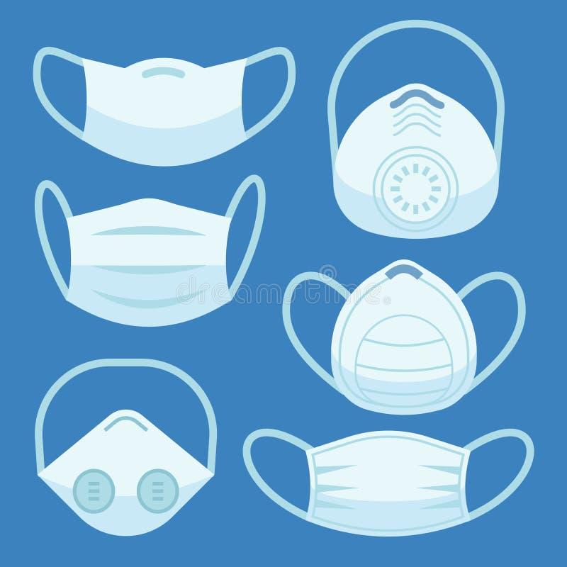 Máscara de la contaminación de la cara Alergia médica de los dispositivos protectores de la respiración del peligro de la tos de  ilustración del vector