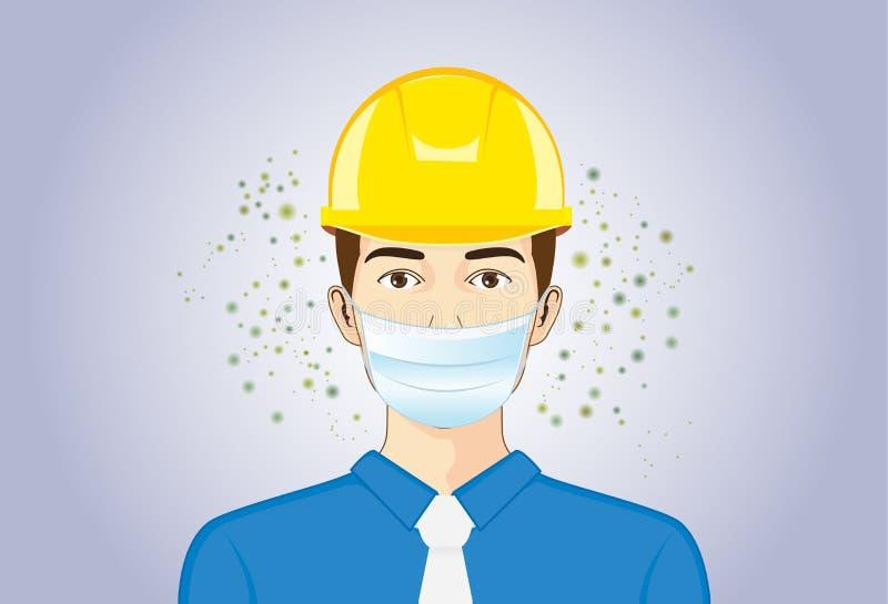 Máscara de la respiración del ingeniero y casco de seguridad que llevan cuando ella que trabaja stock de ilustración