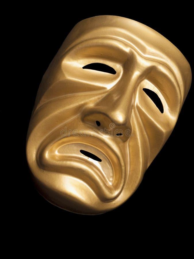 Máscara de la tragedia en fondo negro imágenes de archivo libres de regalías