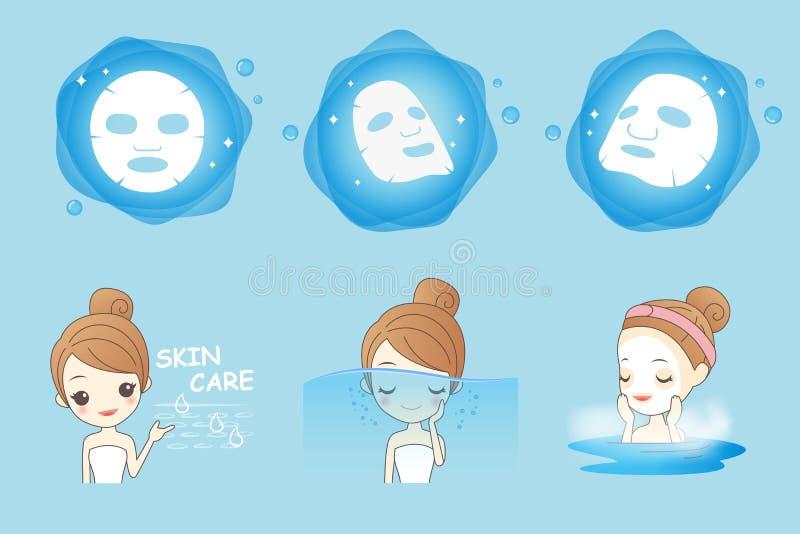 Máscara de las aplicaciones de la muchacha de la historieta libre illustration