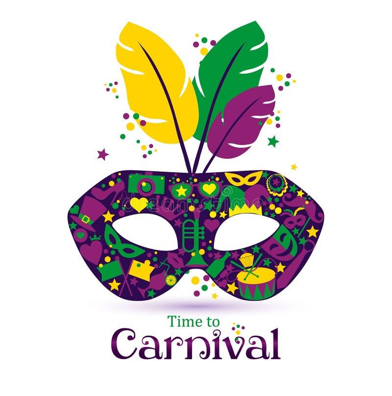 ¡Máscara de los iconos del carnaval y tiempo brillantes de la muestra al carnaval! ilustración del vector
