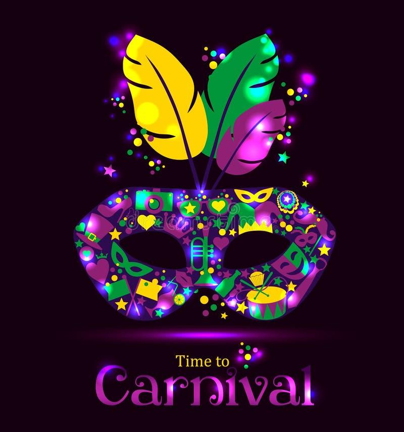 Máscara de los iconos del carnaval y tiempo brillantes de la muestra al carnaval ilustración del vector