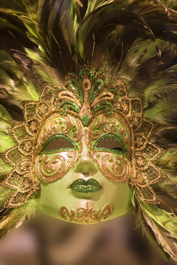 Máscara de lujo del oro verde fotografía de archivo libre de regalías